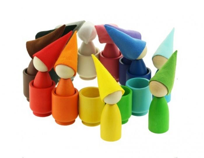Фото - Деревянные игрушки Уланик Набор Монтессори Гномики большие в колпачках в стаканчиках деревянные игрушки уланик игра монтессори грибная поляна 25 грибочков