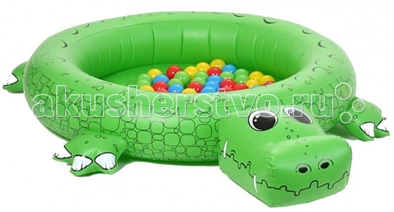 Upright Сухой бассейн КрокодилСухой бассейн КрокодилИгровой центр Upright Крокодил - это крупный надувной домик, в котором ваш малыш с удовольствием может играть в шарики. В комплект помимо непосредственно самого крокодила входит еще несколько шариков и удобный насос для накачивания крокодильчика.  Состав набора: насос, надувная площадка, 50 пластиковых шариков разного цвета диаметром 6 см.<br>