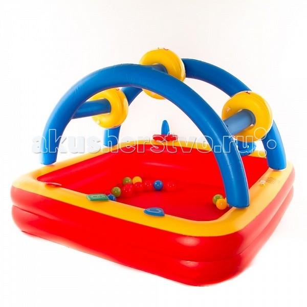 Upright Сухой бассейн ПлотСухой бассейн ПлотИгровой центр Upright Плот, легко перевозимый с места на место, понравится практичным родителям. Имеется функция два-в-одном: центр можно использовать как манеж, ведь высокие бортики предотвратят падение малыша. Ну, а пятьдесят цветных шариков, в которые влюбится ребенок, только добавляют плюсов этому предмету.  Состав набора: насос, надувная площадка, 50 пластиковых шариков разного цвета диаметром 6 см.  Размер бассейна (ВхШхД): 92 х 72 х 117 см<br>