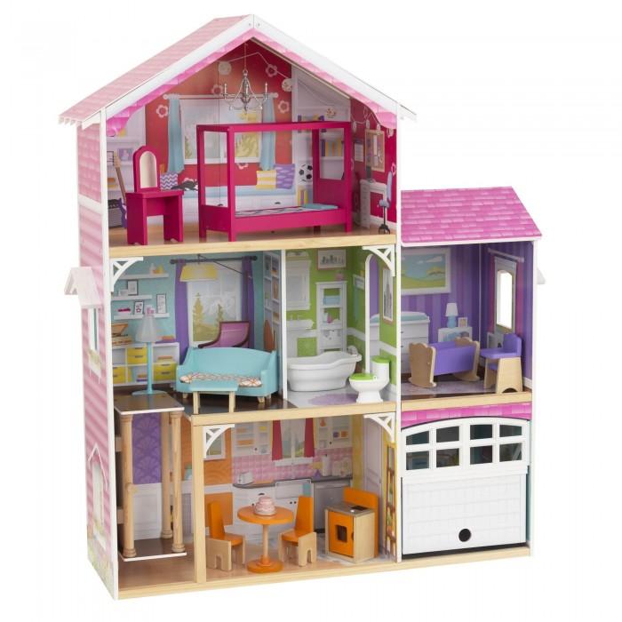 KidKraft Кукольный дом Особняк ЭвериКукольные домики и мебель<br>KidKraft Кукольный дом Особняк Эвери  Каждая девочка мечтает о таком роскошном домике для своих кукол. Домик прекрасно впишется в интерьер игровой комнаты.  Особенности: Особняк имеет три этажа, на которых расположились шесть комнат.  В комплект входит 15 игровых аксессуаров, которые разнообразят игры детей.  Торшер включается с помощью кнопки, он освещает комнату уютным светом.   Если нажать на кнопку на унитазе, то можно услышать, как смывается вода. Особняк подойдет для кукол до 30 см.  Поставляется в разобранном виде. В комплекте есть инструкция по сборке.