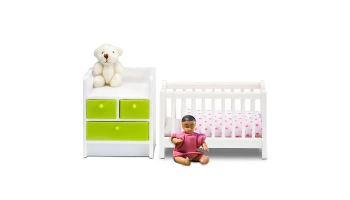 Lundby Кукольная мебель Кровать с пеленальным комодом