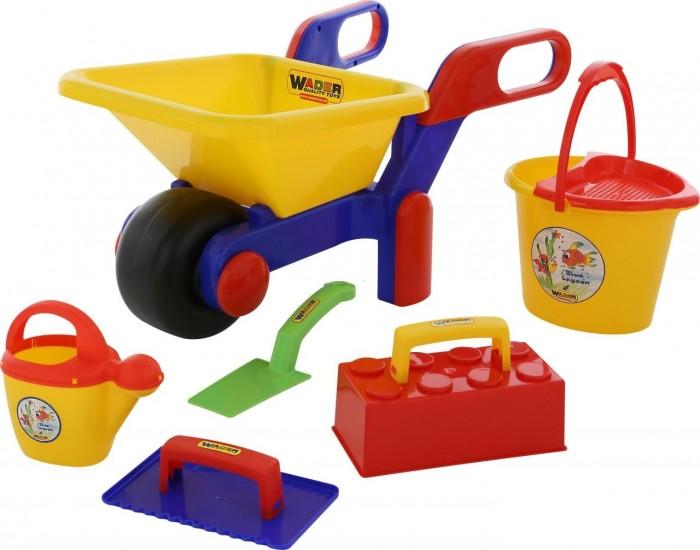 Купить Игрушки в песочницу, Wader Набор №447 Тачка №4 + Набор каменщика №1