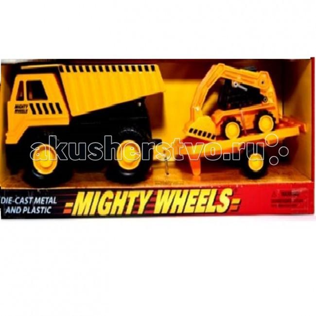 Mighty Wheels Soma Строительная техника Карьерный грузовик минипогрузчик Бобкэт 18 смSoma Строительная техника Карьерный грузовик минипогрузчик Бобкэт 18 смMighty Wheels Soma Строительная техника Карьерный грузовик минипогрузчик Бобкэт 18 см - необходимая на любой стройке техника. Ребенок сможет придумать много сюжетно-ролевых игр с участием этой машины, развивая фантазию, воображение, координацию и мелкую моторику.  Набор состоит из: Карьерного Самосвала и полуприцепа с минипогрузчиком Бобкэт яркого жёлтого цвета, который соответствует традиционным цветам строительной техники.   Игрушки достаточно крупные: самосвал имеет длину около 35 см, а минипогрузчик – 18 см. Все колёса движутся, самосвал имеет откидывающийся кузов, а минипогрузчик – поднимающийся ковш. Игрушки изготовлены из прочного пластика и легко моются, что позволяет использовать их не только дома, но и на на улице - в условиях, максимально приближенных к реальным.<br>