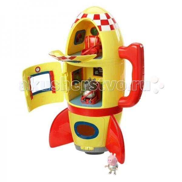 Peppa Pig Игровой набор Космический корабль ПеппыИгровой набор Космический корабль ПеппыPeppa Pig Игровой набор Космический корабль Пеппы   Джордж и щенок Дэни, надев скафандры металлического цвета, отправляются в межгалактическое путешествие на трехъярусном космическом корабле. В двух верхних отсеках находятся сидения, оборудованные ремнями безопасности, которые защитят космонавтов во время полета.   Все отделения летательного аппарата имеют собственный вход с закрывающейся дверью и иллюминатором. В космической ракете установлены бортовые приборы и доска с мелом.   В таком надежном корабле отважным героям не страшны никакие трудности!  Особенности: Игрушка работает от 3 батареек типа АА (в набор не входят), кнопка находится на дне корабля.  Товар изготовлен из безопасного пластика и сертифицирован.  Упаковка – коробка.  В игровом наборе «Космический корабль Пеппы» ТМ «Свинка Пеппа» 3 предмета:  космический корабль со звуковыми эффектами (реалистичные звуки взлетающей ракеты), оборудованный удобной ручкой для переноски фигурки щенка Дэни (5 см) и Джорджа (4 см), которые могут сидеть, стоять, двигать ручками и ножками.<br>