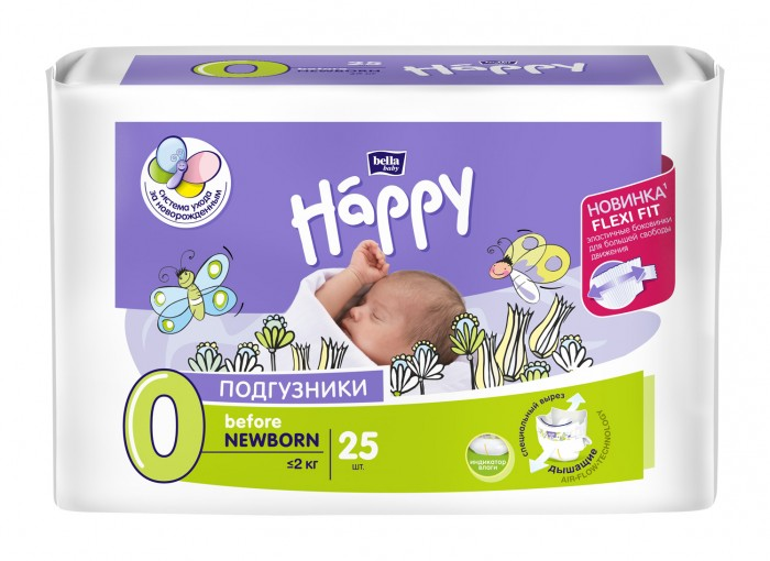 Bella baby Happy Подгузники Happy Before Newborn (0-2 кг) 25 шт.
