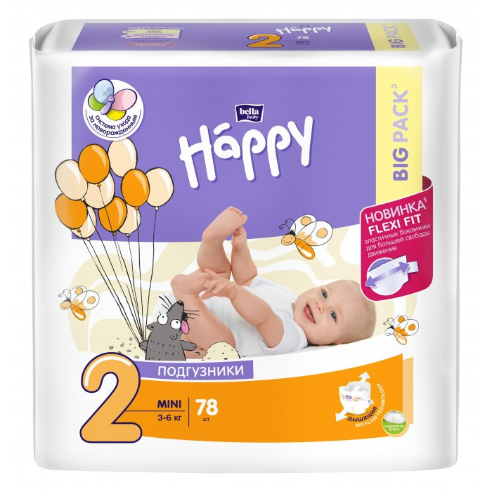 Bella baby Happy Подгузники Happy Mini (3-6 кг) 78 шт.