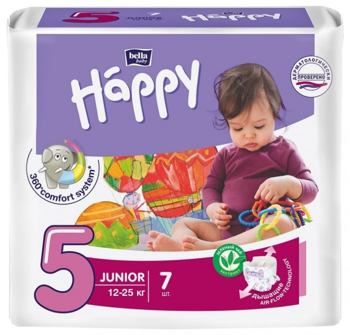 Bella baby Happy Подгузники Happy Junior (12-25 кг) 7 шт.