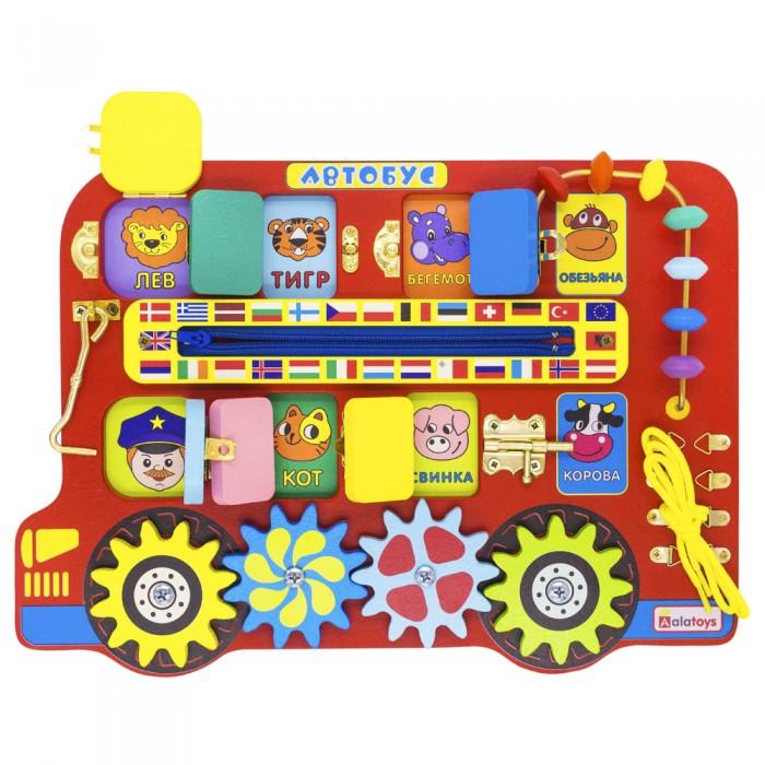 Картинка для Деревянная игрушка Alatoys Бизиборд Автобус ББ119
