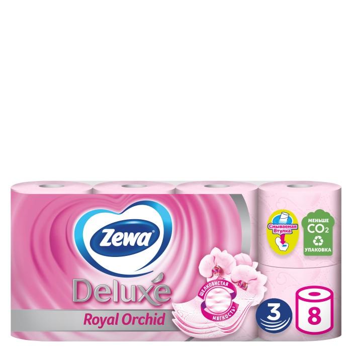 Хозяйственные товары Zewa Туалетная бумага Deluxe Орхидея 3-х слойная 8 шт.