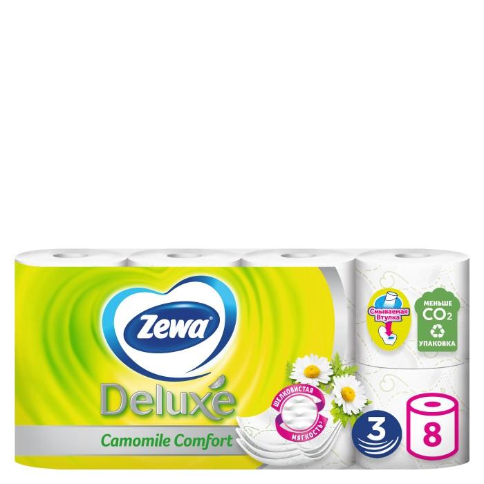 Хозяйственные товары Zewa Туалетная бумага Deluxe Ромашка 3-х слойная 8 шт.