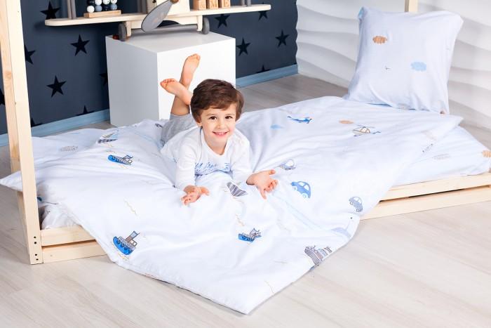 Комплект в кроватку Makkaroni Kids Фораж (4 предмета) 160х80 смКомплекты в кроватку<br>Комплект в кроватку Makkaroni Kids Фораж (4 предмета) выполнен из натуральной хлопковой ткани с нежным принтом для мальчиков. Европейский дизайн, превосходное качество сатина!    Комплект подходит для подростковых кроватей, кроватей-домиков, размер матраса, которых 160х80.   В комплекте:  Пододеяльник: 160х110 см Простыня на резинке, высота матраса до 20 см Наволочка: 50х70 см Одеяло: 160х110 см.
