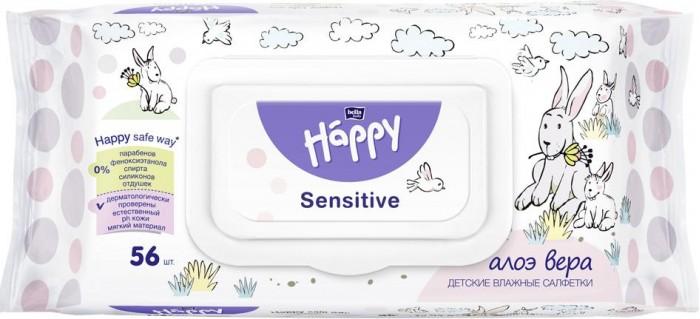Салфетки Bella baby Happy Влажные салфетки детские Happy Sensitive с экстрактом Алое Вера 56 шт.