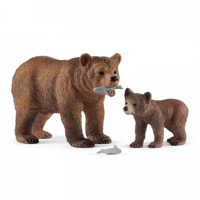 Картинка для Schleich Игровые фигурки Самка медведя гризли с детенышем