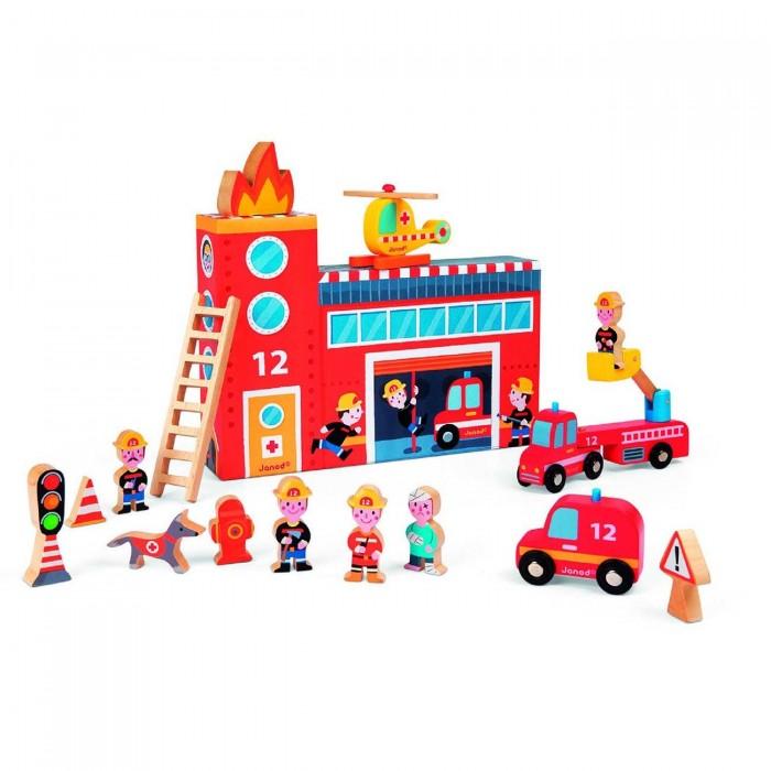 Купить Игровые наборы, Janod Набор игровой Пожарные с деревянными фигурками