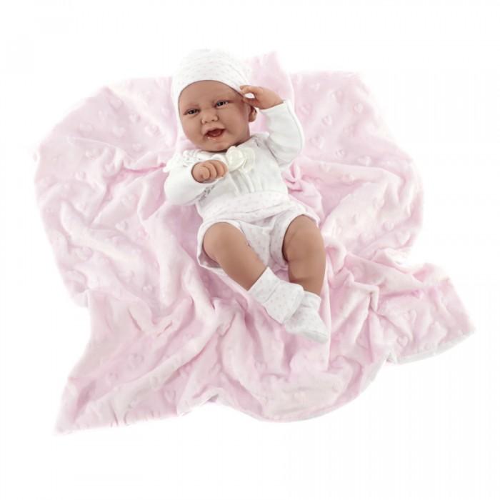 Munecas Antonio Juan  Кукла-младенец Ирен в розовом 42 смКуклы и одежда для кукол<br>Munecas Antonio Juan Кукла-младенец Ирен в розовом 42 см  Ирен похожа на настоящую новорожденную девочку, причем не только благодаря проработанным деталям ее лица и складочкам на теле, но и реалистичному размеру, позволяющему по незнанию принять ее за младенца, недавно появившегося на свет.  Особенности: Данная кукла понравится детям старше 3 лет Она выполнена в виде младенца с реалистичными чертами лица, а также пропорциями, благодаря которым игрушка выглядит максимально натурально Малышку зовут Ирен, она одета в белый костюмчик в розовый горошек, состоящий из шорт, кофты, носочек и шапочки Размер куклы составляет 42 см, что делает ее еще более похожей на ребенка, поэтому сюжетно-ролевая игра в дочки-матери точно удастся Игрушка полностью сделана из особого высококачественного винила с покрытием Soft-touch, благодаря которому младенец выглядит как живой. Вы сможете рассмотреть все имеющиеся на его теле складочки, а также другие мелкие детали Куклу приятно трогать и держать в руках, кроме того, за ней легко ухаживать. Обрате внимание, что куклу нельзя купать У малышки подвижные ручки, ножки, а также голова поэтому играть с ней особенно интересно В комплекте с куклой также поставляются мягкое одеяльце и соска Игры с куклами позволяют ребенку проявить заботу, внимание, почувствовать ответственность и весело провести время