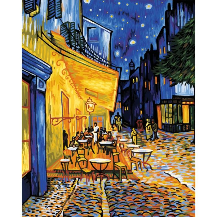 Schipper Картина по номерам Ночное кафе (Ван Гог) 50х40 смКартина по номерам Ночное кафе (Ван Гог) 50х40 смКартина по номерам Schipper репродукция Ночное кафе Ван Гог   Особенности:    Основа для картины имеет льняную структуру, поэтому готовая картина выглядит как настоящее произведение искусства.  Картина раскрашивается без смешивания красок.  Все необходимые цвета красок есть в комплекте. Просто закрашивайте участки красками с соответствующим номером.  В набор также входит фактурная картонная основа с пронумерованными контурами, кисть и контрольный лист, на котором вы можете потренироваться, прежде чем переходить к раскрашиванию основного листа.  Акриловые краски в данном наборе содержатся в очень плотно закрытых контейнерах. Благодаря этому, краски доходят до покупателя, сохранив свои свойства.   Размер: 50х40 см<br>