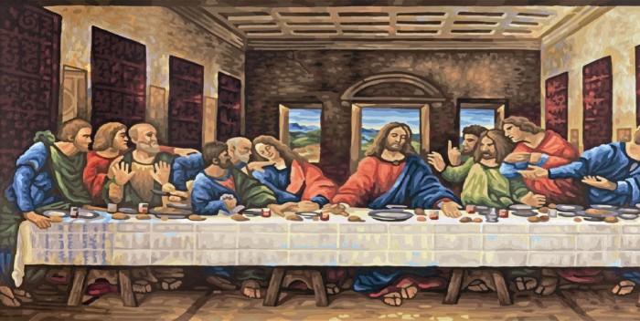 Schipper Картина по номерам Тайная вечеря (Леонардо да Винчи) 80х40Картина по номерам Тайная вечеря (Леонардо да Винчи) 80х40Картина по номерам Schipper репродукция Тайная вечеря Леонардо да Винчи   Особенности:    Основа для картины имеет льняную структуру, поэтому готовая картина выглядит как настоящее произведение искусства.  Картина раскрашивается без смешивания красок.  Все необходимые цвета красок есть в комплекте. Просто закрашивайте участки красками с соответствующим номером.  В набор также входит фактурная картонная основа с пронумерованными контурами, кисть и контрольный лист, на котором вы можете потренироваться, прежде чем переходить к раскрашиванию основного листа.  Акриловые краски в данном наборе содержатся в очень плотно закрытых контейнерах. Благодаря этому, краски доходят до покупателя, сохранив свои свойства.   Размер: 80х40 см Кол-во цветов: 42<br>