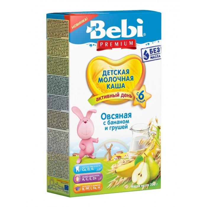 Каши Bebi Молочная каша Premium Активный день Овсяная с бананом и грушей с 6 мес. 200 г