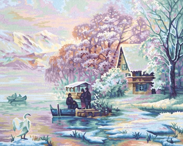 Schipper Картина по номерам Горное озеро зимой 40х50 смКартина по номерам Горное озеро зимой 40х50 смКартина по номерам Schipper Горное озеро зимой   Особенности:    Основа для картины имеет льняную структуру, поэтому готовая картина выглядит как настоящее произведение искусства.  Картина раскрашивается без смешивания красок.  Все необходимые цвета красок есть в комплекте. Просто закрашивайте участки красками с соответствующим номером.  В набор также входит фактурная картонная основа с пронумерованными контурами, кисть и контрольный лист, на котором вы можете потренироваться, прежде чем переходить к раскрашиванию основного листа.  Акриловые краски в данном наборе содержатся в очень плотно закрытых контейнерах. Благодаря этому, краски доходят до покупателя, сохранив свои свойства.   Размер: 40х50 см<br>
