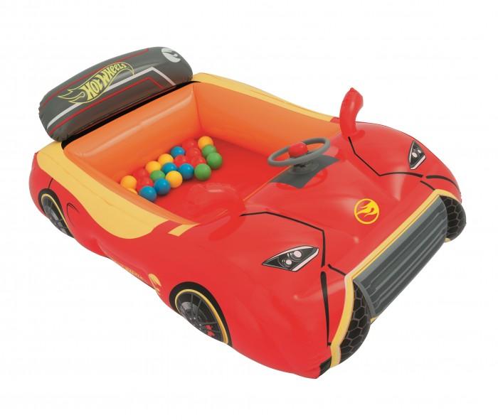 Bestway Игровой центр Машина Hot WheelsСухие бассейны<br>Bestway Игровой центр Машина Hot Wheels с 25 шариками выполнен в виде машинки Hot Wheels, что непременно порадует маленьких гонщиков, для которых он станет любимым местом для игр.  Внутри машинки достаточно места для 2-х пассажиров, которые могут представлять себя водителями, крутить руль, нажимать на звуковой сигнал или просто купаться в разноцветных шариках.  Особенности:  Надувной центр благодаря своему привлекательному дизайну станет украшением игровой комнаты, а в летний период придомовую территорию, чтобы разнообразить игровой досуг детей Изделие выполнено в виде ярко-красной легковой машинки Hot Wheels, ее красочный дизайн поднимет детям настроение Надувное изделие выполнено из прочного, испытанного винила. Стенки машины мягкие, но жесткие, что придает изделию дополнительную жесткость Дизайн машинки исполнен с высокой детализацией: прорисованы фары, колесики, имеется зеркало заднего вида, удобная спинка и даже настоящий руль классической формы со встроенным звуковым сигналом Внутри надувного фигурного бассейна малышам будет интересно играть с разноцветными шариками в комплекте Центр достаточно просторный, поэтому играть в нем могут одновременно несколько детей Активные игры способствует укреплению физической формы, двигательной активности ребенка и дарят прекрасное настроение От сдувания изделие защищают предохранительные клапаны. Для хранения надувное изделие легко сложить в компактную форму Для производства игрушки использовался качественный, сертифицированный винил. Размер изделия: 135 х 96 х 43 см.