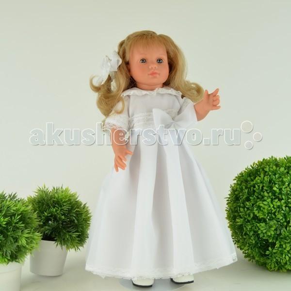 ASI Кукла Нелли 43 см 1250130Кукла Нелли 43 см 1250130Кукла ASI Нелли 43 см 1250130, роскошная блондинка, в шикарном белоснежном платье невесты!  Рост куколки - 43 см, она полностью выполнена из винила самого высокого качества, устойчиво стоит на ровных ногах.  Волосы длинные, прошитые, приближены по качеству к натуральным. Куклу без риска можно расчесывать и менять ей прически.  Ресницы у куклы тоже как настоящие: длинные и пушистые.   Платье выполнено из дорогой органзы и украшено кружевом. На ногах изысканные лодочки. Волосы украшены белыми розочками и бантом.  Особенности: Пупсик ASI сделан очень качественно.  Без запаха.  Производство Испания. Используется безопасный твердый винил.  Видна прорисовка мельчайших подробностей тела, рук и ног.<br>