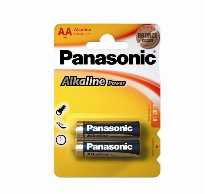Батарейки, удлинители и переходники Panasonic Батарейка щелочная LR6 (AA) Alkaline 1.5В 2 шт. батарейки defender lr6 04b aa 4 шт 56028