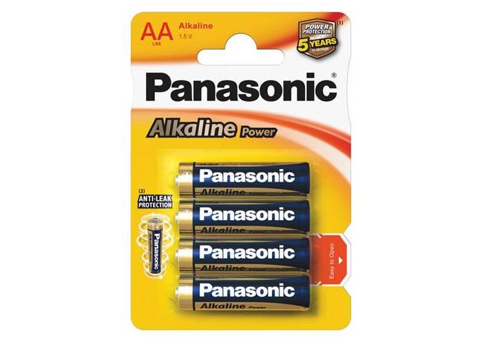 Батарейки, удлинители и переходники Panasonic Батарейка щелочная LR6 (AA) Alkaline 1.5В 4 шт. батарейки defender lr6 04b aa 4 шт 56028