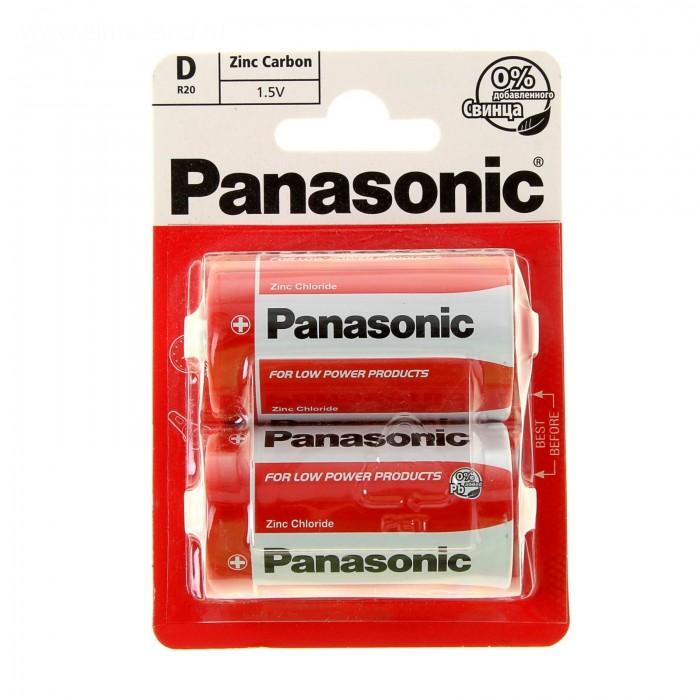 Батарейки, удлинители и переходники Panasonic Батарейка солевая R20 (D) Zinc Carbon 1.5В 2 шт.