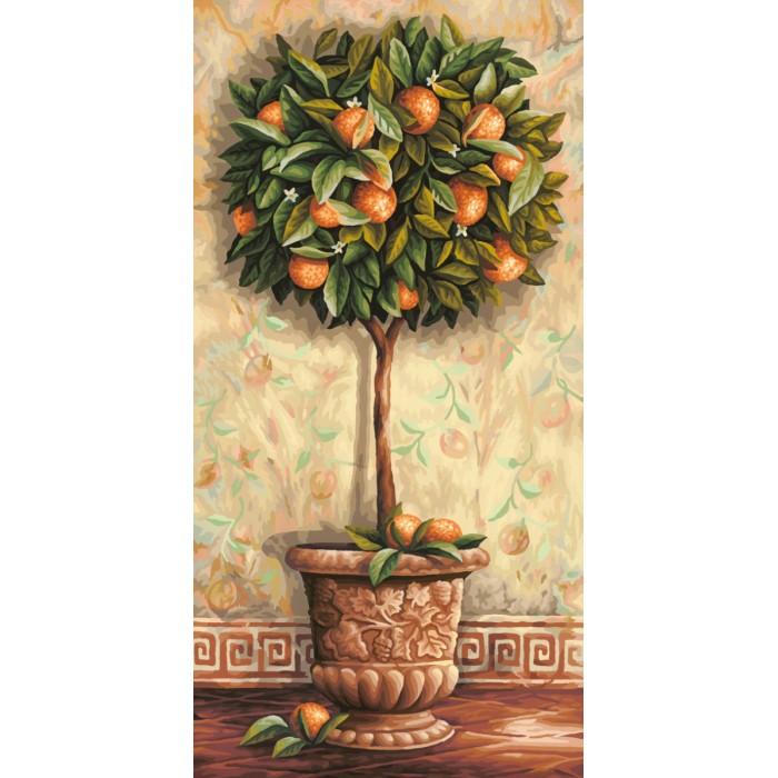 Schipper Картина по номерам Апельсиновое дерево 40х80 смКартина по номерам Апельсиновое дерево 40х80 смКартина по номерам Schipper Апельсиновое дерево   Особенности:    Основа для картины имеет льняную структуру, поэтому готовая картина выглядит как настоящее произведение искусства.  Картина раскрашивается без смешивания красок.  Все необходимые цвета красок есть в комплекте. Просто закрашивайте участки красками с соответствующим номером.  В набор также входит фактурная картонная основа с пронумерованными контурами, кисть и контрольный лист, на котором вы можете потренироваться, прежде чем переходить к раскрашиванию основного листа.  Акриловые краски в данном наборе содержатся в очень плотно закрытых контейнерах. Благодаря этому, краски доходят до покупателя, сохранив свои свойства.   Кол-во цветов: 36 Размер: 40х80 см<br>