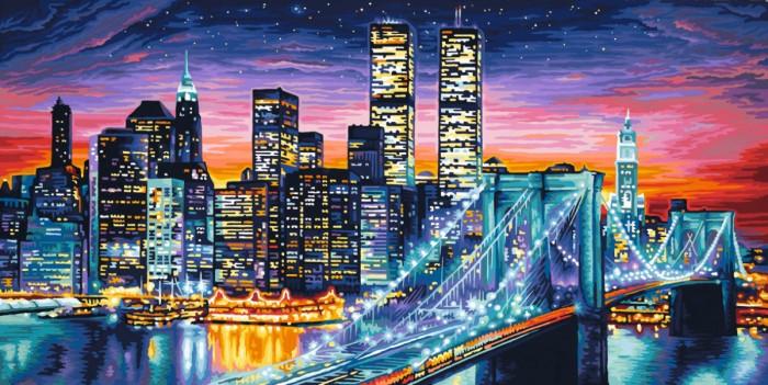 Schipper Картина по номерам Ночной Манхеттен 40х80 смКартина по номерам Ночной Манхеттен 40х80 смКартина по номерам Schipper Ночной Манхеттен   Особенности:    Основа для картины имеет льняную структуру, поэтому готовая картина выглядит как настоящее произведение искусства.  Картина раскрашивается без смешивания красок.  Все необходимые цвета красок есть в комплекте. Просто закрашивайте участки красками с соответствующим номером.  В набор также входит фактурная картонная основа с пронумерованными контурами, кисть и контрольный лист, на котором вы можете потренироваться, прежде чем переходить к раскрашиванию основного листа.  Акриловые краски в данном наборе содержатся в очень плотно закрытых контейнерах. Благодаря этому, краски доходят до покупателя, сохранив свои свойства.   Кол-во цветов: 35 Размер: 40х80 см<br>