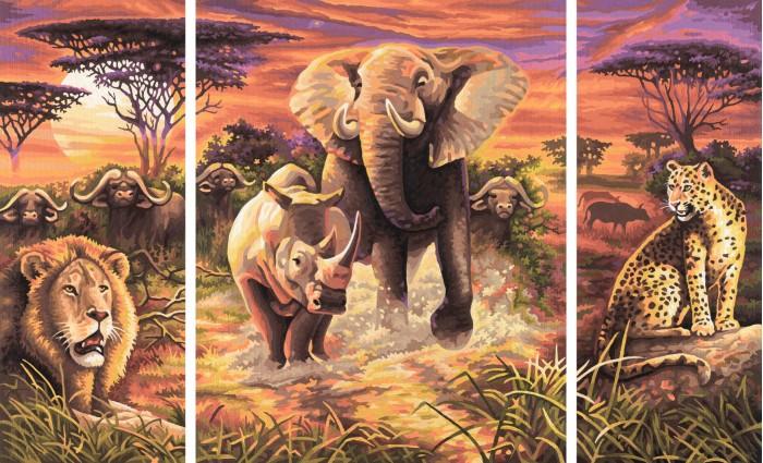 Schipper Картина по номерам Триптих Африка 50х80 смКартина по номерам Триптих Африка 50х80 смКартина по номерам Schipper Триптих Африка   Особенности:    Готовая картина выглядит как настоящее произведение искусства.  Картина раскрашивается без смешивания красок.  Все необходимые цвета красок есть в комплекте. Просто закрашивайте участки красками с соответствующим номером.  В набор также входит фактурная картонная основа с пронумерованными контурами, кисть и контрольный лист, на котором вы можете потренироваться, прежде чем переходить к раскрашиванию основного листа.  Акриловые краски в данном наборе содержатся в очень плотно закрытых контейнерах. Благодаря этому, краски доходят до покупателя, сохранив свои свойства.   Кол-во цветов: 36 Размер: 50х80 см<br>