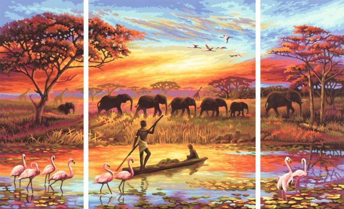 Schipper Картина по номерам Триптих Африка 50х80 смКартина по номерам Триптих Африка 50х80 смКартина по номерам Schipper Триптих Африка-Магический континент   Особенности:    Готовая картина выглядит как настоящее произведение искусства.  Картина раскрашивается без смешивания красок.  Все необходимые цвета красок есть в комплекте. Просто закрашивайте участки красками с соответствующим номером.  В набор также входит фактурная картонная основа с пронумерованными контурами, кисть и контрольный лист, на котором вы можете потренироваться, прежде чем переходить к раскрашиванию основного листа.  Акриловые краски в данном наборе содержатся в очень плотно закрытых контейнерах. Благодаря этому, краски доходят до покупателя, сохранив свои свойства.   Кол-во цветов: 35 Размер: 50х80 см<br>