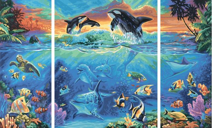 Schipper Картина по номерам Триптих Коралловые рифы 50х80 смКартина по номерам Триптих Коралловые рифы 50х80 смКартина по номерам Schipper Триптих Коралловые рифы   Особенности:    Основа для картины имеет льняную структуру, поэтому готовая картина выглядит как настоящее произведение искусства.  Картина раскрашивается без смешивания красок.  Все необходимые цвета красок есть в комплекте. Просто закрашивайте участки красками с соответствующим номером.  В набор также входит фактурная картонная основа с пронумерованными контурами, кисть и контрольный лист, на котором вы можете потренироваться, прежде чем переходить к раскрашиванию основного листа.  Акриловые краски в данном наборе содержатся в очень плотно закрытых контейнерах. Благодаря этому, краски доходят до покупателя, сохранив свои свойства.   Кол-во цветов: 40 Размер: 50х80 см<br>