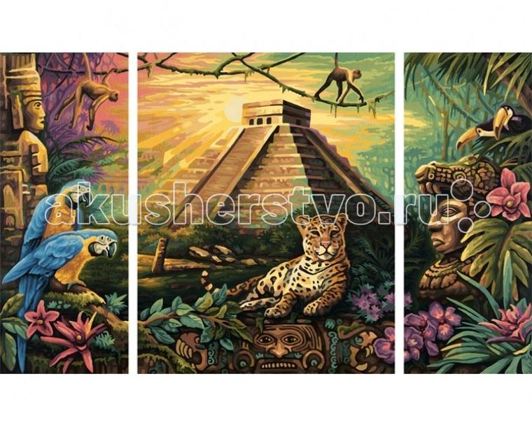 Schipper Картина по номерам Триптих Пирамида народа Майя 50х80 смКартина по номерам Триптих Пирамида народа Майя 50х80 смКартина по номерам Schipper Триптих Пирамида народа Майя   Особенности:    Основа для картины имеет льняную структуру, поэтому готовая картина выглядит как настоящее произведение искусства.  Картина раскрашивается без смешивания красок.  Все необходимые цвета красок есть в комплекте. Просто закрашивайте участки красками с соответствующим номером.  В набор также входит фактурная картонная основа с пронумерованными контурами, кисть и контрольный лист, на котором вы можете потренироваться, прежде чем переходить к раскрашиванию основного листа.  Акриловые краски в данном наборе содержатся в очень плотно закрытых контейнерах. Благодаря этому, краски доходят до покупателя, сохранив свои свойства.   Кол-во цветов: 42 Размер: 50х80 см<br>