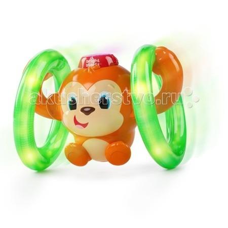 Развивающая игрушка Bright Starts Обезьянка на кольцахОбезьянка на кольцахЗабавная детская игрушка Bright Starts Обезьянка на кольцах выполнена в виде симпатичной маленькой обезьянки с кольцами.   Нажмите на шляпку мартышки - это активирует светодиодные лампочки внутри колес, а также приводит механизм движения игрушки в движение. Она начинает весело крутить лапками колеса, перемещаясь по комнате.  Малыш, увлекаемый забавной игрушкой, которая еще и проигрывает забавную мелодию во время движения, радостно поползет вслед за нет, тренируя крупную моторику и укрепляя мышцы.  В комплект входит: 1 игрушка 2 батарейки инструкция   Наличие батареек: входят в комплект.  Тип батареек: 2 х AA / LR6 1.5V (пальчиковые).<br>