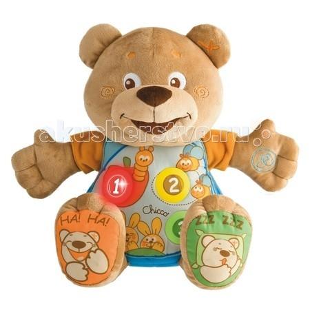 Развивающая игрушка Chicco Мишка ТеддиМишка ТеддиИнтерактивный Мишка Тедди Chicco – это оригинальная игрушка для вашей крохи.  Симпатичная мягкая игрушка, с которой так приятно играть и обниматься, а также брать с собой в свои первые путешествия. Для самых маленьких в самый раз!   Особенности:  Интерактивный Мишка - красочный, мягкий, очень приятный на ощупь Мягкий музыкальный Мишка украшен забавными разноцветными рисунками  Мишка двуязычный: говорит на английском и русском. Кнопочки для переключения языков находятся с боку животика.  Мишка поет забавные и веселые песенки, считает, говорит названия фруктов и животных.  Если его перевернуть вверх ногами - он смеется.  На руках и ногах есть кнопочки с разными программами, на ушках - шуршалки и мелкие шарики для развития мелкой моторики. Присутствует регулятор громкости.  На животике есть три кнопки: при нажатии они светятся и мишка называет цифру, а при повторном нажатии Мишка поет песню или называет слово.  Если ребенок отложил медведя и занимается чем-то другим - Мишка начинает его звать, выкрикивая забавные слова.   Демонстрационные батарейки входят в комплект.<br>