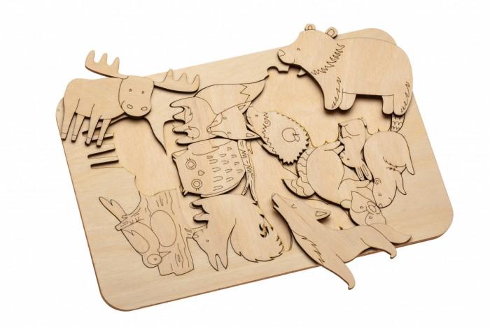 Деревянная игрушка Bradex Развивающий пазл-раскраска Жители леса