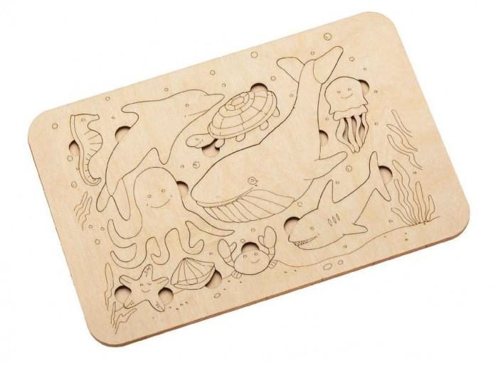 Деревянная игрушка Bradex Развивающий пазл-раскраска Морские жители