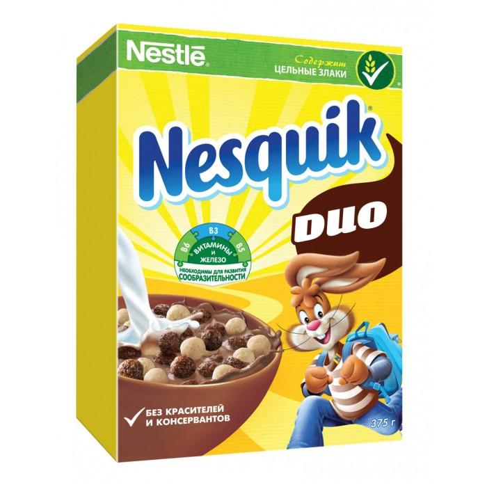 Готовые завтраки, мюсли и хлопья Nesquik Готовый завтрак DUO Шоколадные шарики 375 г готовый завтрак хрутка шоколадные колечки пакет 210 г