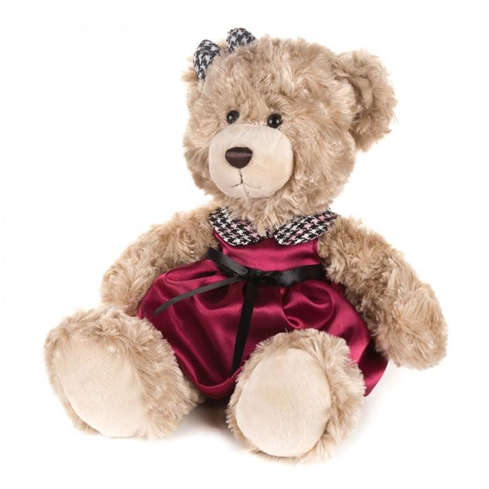 Купить Мягкие игрушки, Мягкая игрушка Maxitoys Luxury Мишка Моника в красном платье с клетчатым воротничком 25 см