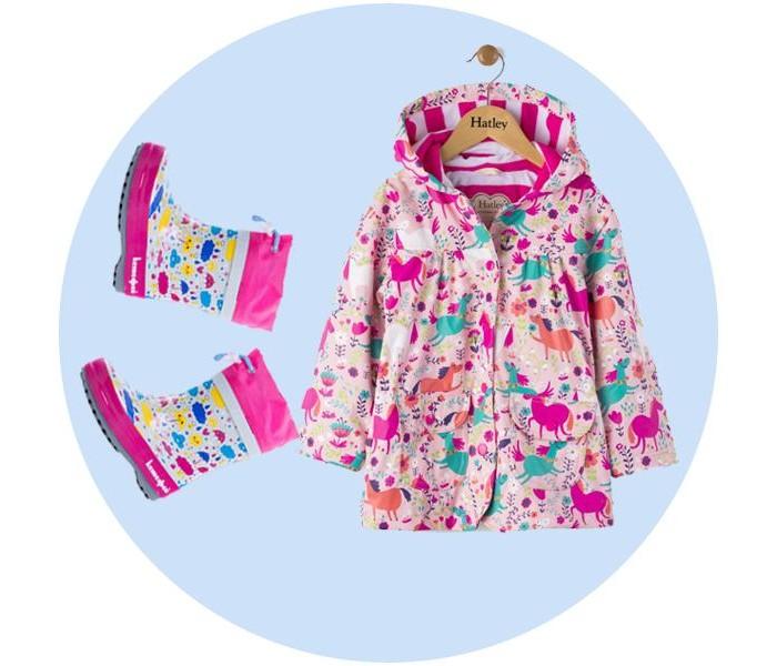 Купить Ветровки, плащи, дождевики и жилеты, Hatley для девочки (непромокаемый плащ и резиновые сапоги Котофей)