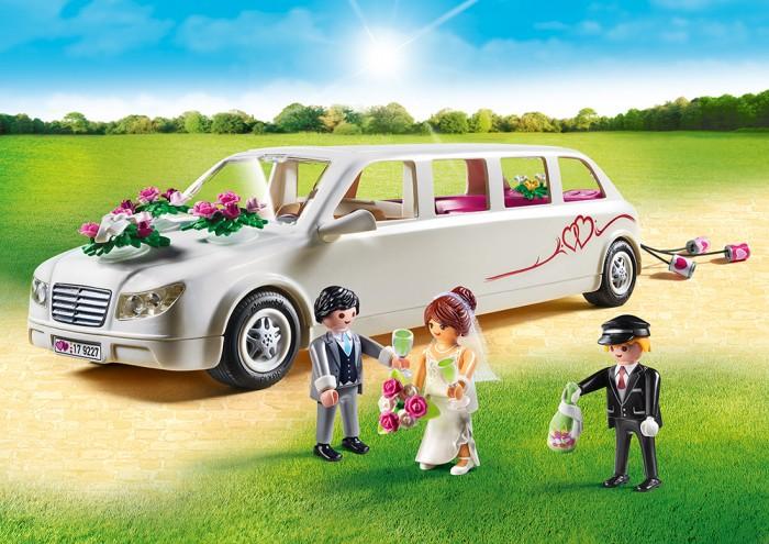 Конструктор Playmobil Лимузин для новобрачныхКонструкторы<br>Playmobil Лимузин для новобрачных  Набор из серии Свадьба создаст невероятную возможность придумывать разные игровые сюжеты, что развивает воображение ребенка.  В свадебном лимузине предусмотрено достаточное пространство для водителя и переднего пассажира, а также трех пассажиров на заднем сиденье. Крыша и цветочные композиции могут отделяться.  Особенности: Лимузин оснащен фаркопом, к которому может быть прикреплен шнур с консервными банками. В салоне есть место для двух фигур. В задней части транспортного средства есть еще три сиденья, в которых каждая из фигур закреплена ручным зажимом. Задняя часть автомобиля отделена от кабины водителя перегородкой, которую можно опустить. На этой стене этикетка указывает на монитор, который отображает новые свадебные фотографии. Ведро для охлаждения шампанского, два бокала для шампанского и свадебный букет можно прикрепить к серванту в салоне. На крышке багажника есть еще один держатель для цветов.