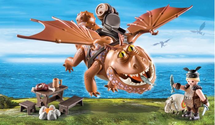 Конструктор Playmobil Драконы Рыбьенг и СарделькаКонструкторы<br>Playmobil Драконы Рыбьенг и Сарделька  Забавный конструктор Рыбьеног и Сарделька от компании Playmobil состоит из 31 детали и подходит для детей старше 4 лет.   Кроме двух главных героев (рыцаря и его дракона) в игровом наборе имеется множество аксессуаров, позволяющих сделать игру более увлекательной и реалистичной.   Рыбьенога можно усадить на дракона, а в руки ему можно дать меч, рыбу или другой аксессуар. Дракон Сарделька может шевелить лапами и крыльями, крутить головой и открывать пасть.