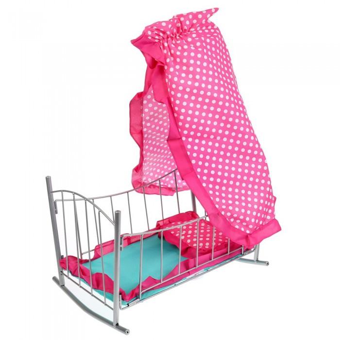 Кроватка для куклы Карапуз с балдахином, подушкой и матрасом