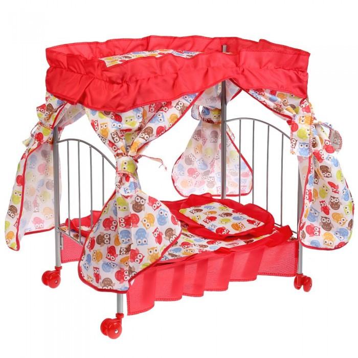 Кроватка для куклы Карапуз с балдахином, подушкой, матрасом и одеялом фото