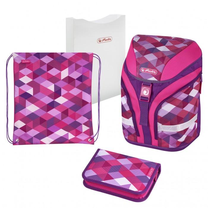 Купить Школьные рюкзаки, Herlitz Ранец Motion Plus Pink Cubes с наполнением
