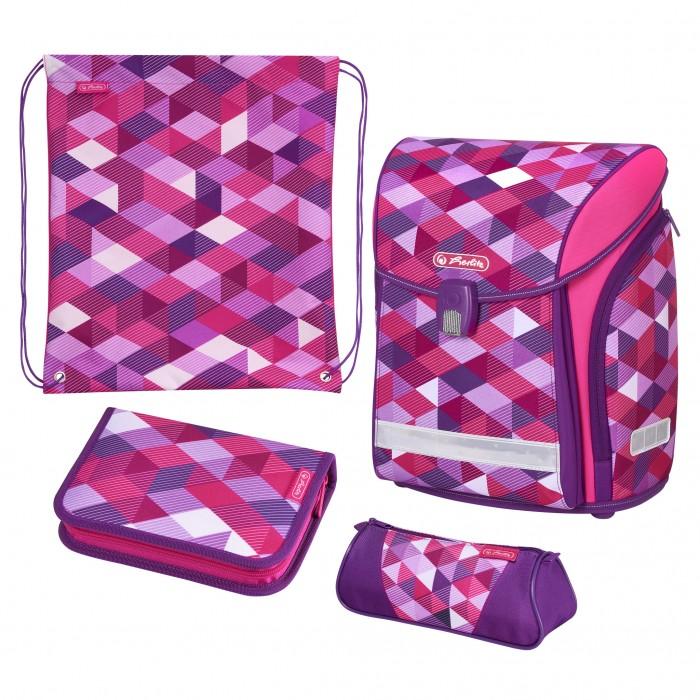 Купить Школьные рюкзаки, Herlitz Ранец Midi New Plus Pink Cubes с наполнением