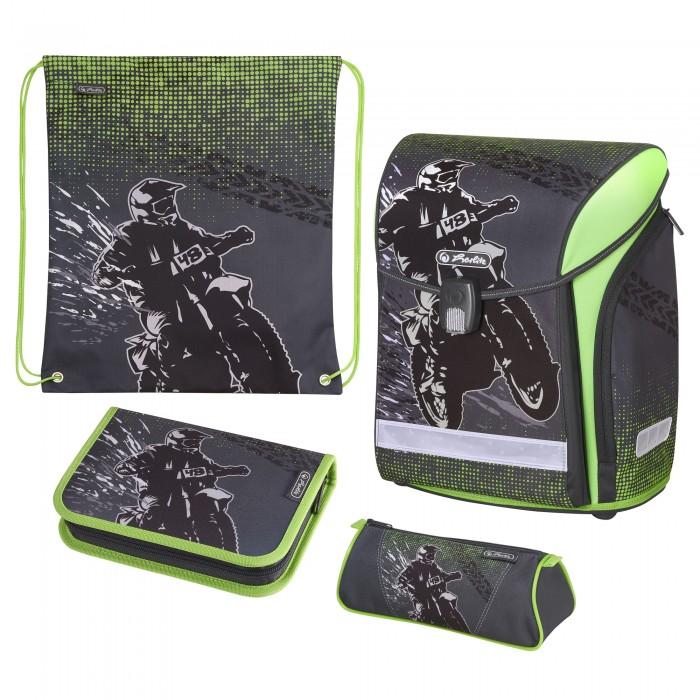 Купить Школьные рюкзаки, Herlitz Ранец Midi New Plus Motorcross с наполнением
