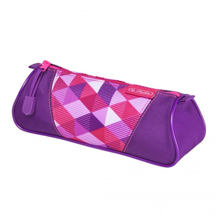 Пеналы Herlitz Пенал-косметичка Triangular Pink Cubes
