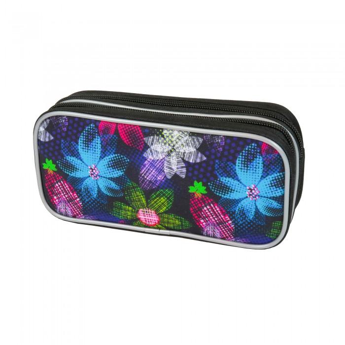 Пеналы Magtaller Пенал-косметичка 2 молнии Flowers кожаная косметичка на молнии box wet pack индиго